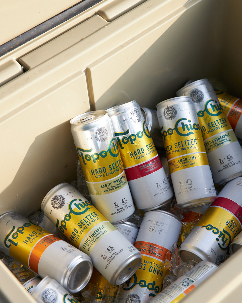 Topo Chico Seltzer in a cooler