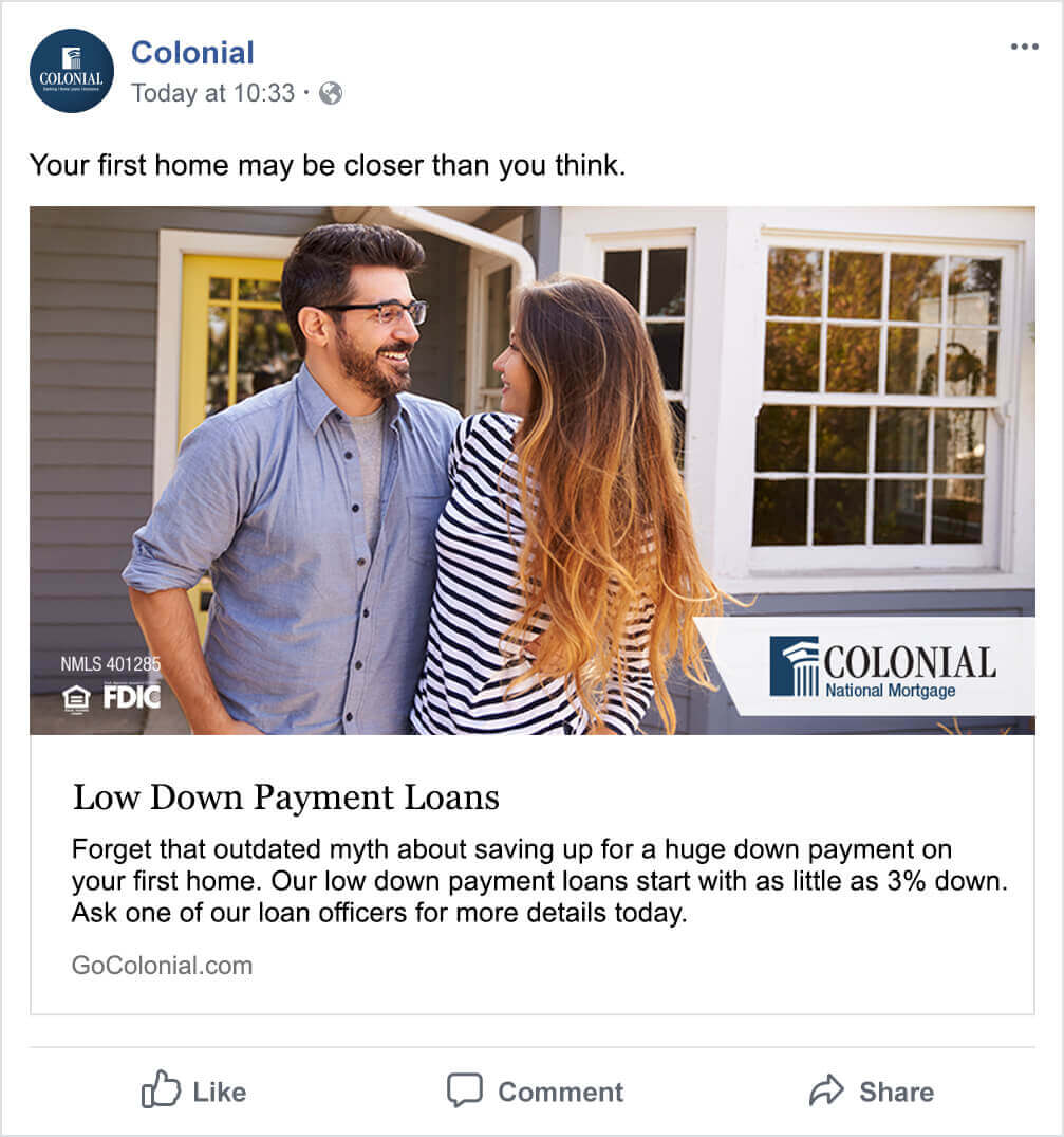Colonial--GCG-Marketing--Advertising--Low-Down-Payment-Loans-Facebook Ad